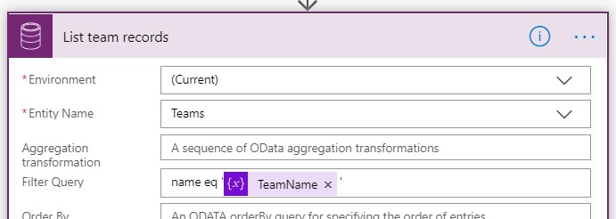 Retrieve the team by using retrieve list and the variable TeamName