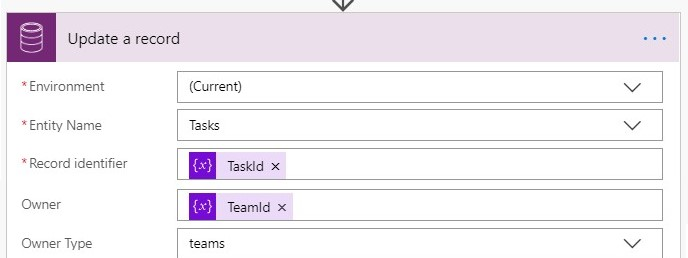 Update the task record with the team