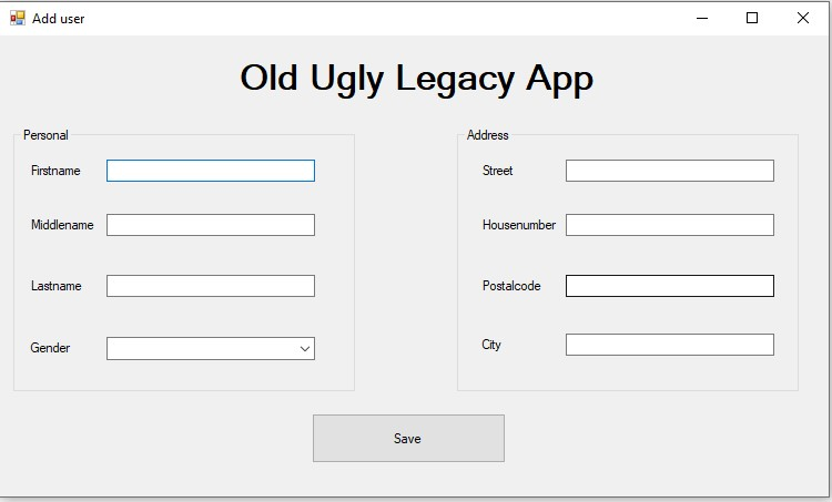 Old ugly legacy app to demo UI Flow capabilities