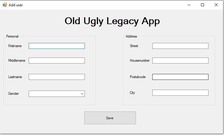 Old ugly legacy app to demo UI Flow capabilities