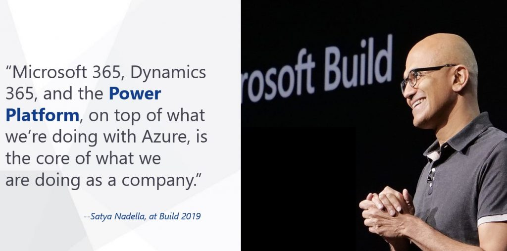 Satya Nadella at Build 2019 about the Power Platform